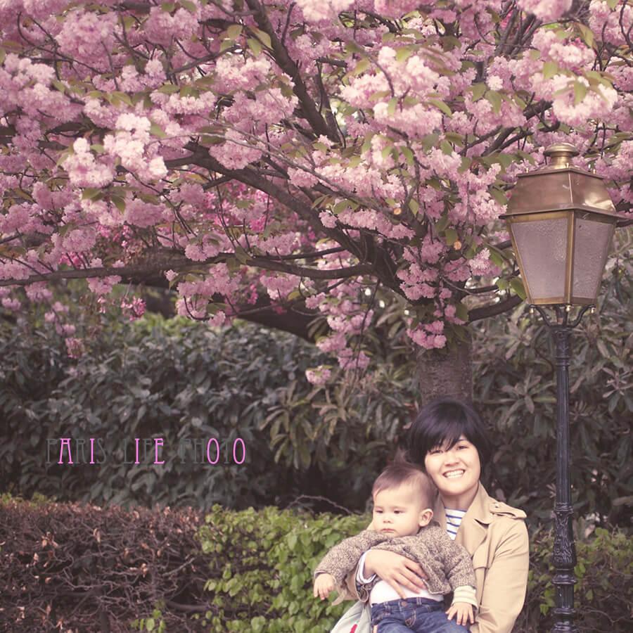 桜の下で男の子を抱っこするママ