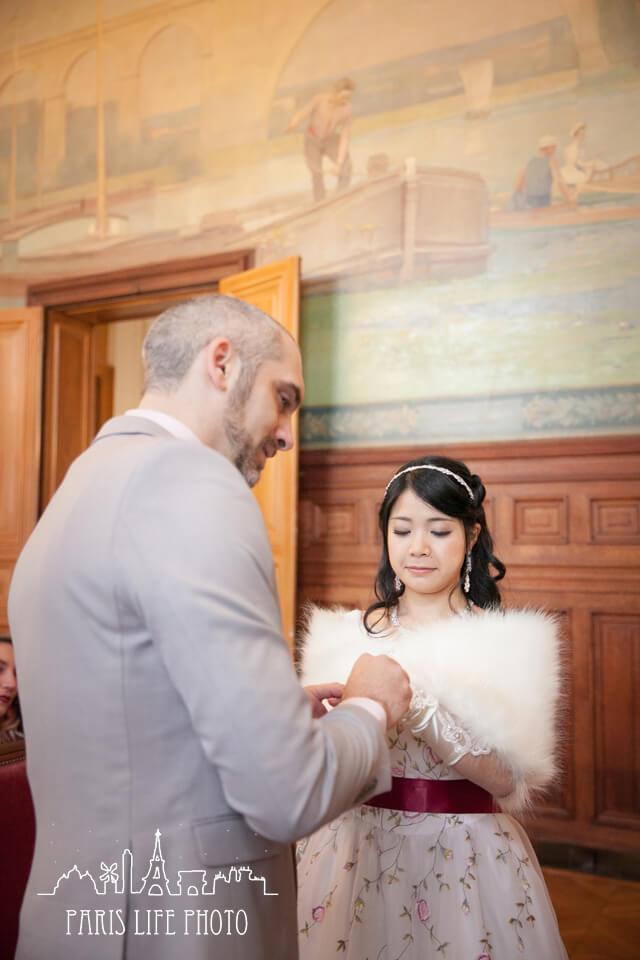 結婚式、指輪交換
