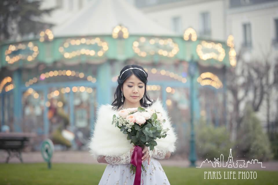 フランス、パリで挙式した新婦のポートレート