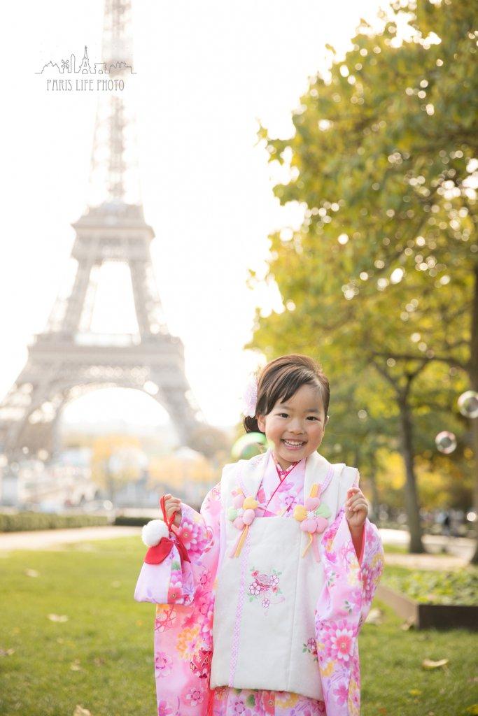 パリで3歳七五三写真